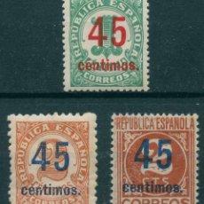 Sellos: ESPAÑA 1938. EDIFIL 742/44** - CAT. 2016: 40€ - CIFRAS HABILITADAS. Lote 173711352