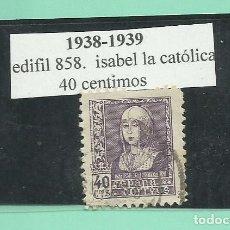 Sellos: SELLO 1938-1939. ISABEL LA CATÓLICA. 40 CENTIMOS. Lote 173805962