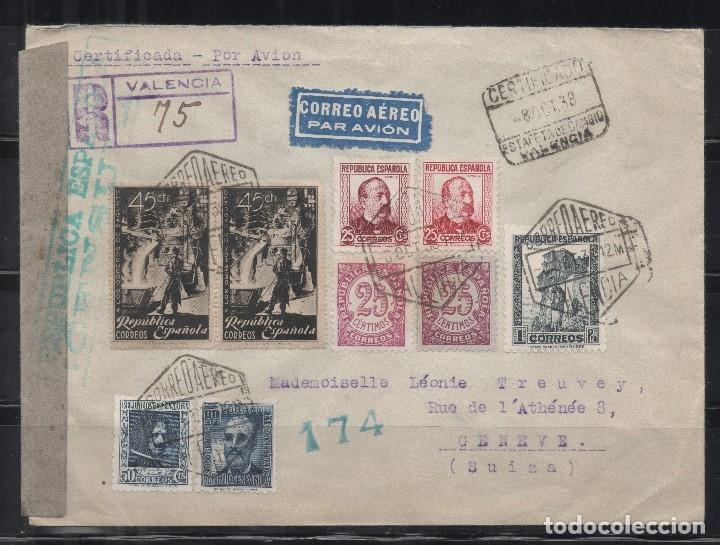 ESPAÑA=CARTA VALENCIA A SUIZA_CENSURA REPUBLICANA_ESPECTACULAR FRANQUEO_ VER 2 FOTOS (Sellos - España - II República de 1.931 a 1.939 - Cartas)