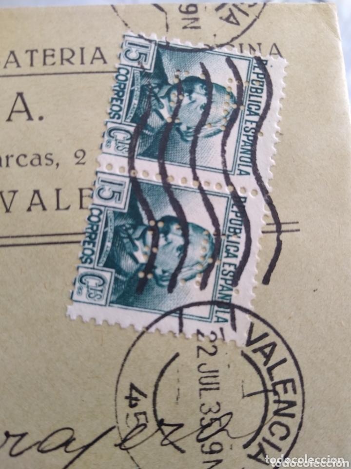 Sellos: Sobre Ernesto Ferrer. Ferretería. Circulada con sellos perforados. - Foto 2 - 174076865