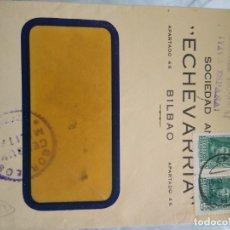 Sellos: SOBRE ECHAVARRIA BILBAO. CENSURA MILITAR VIZCAYA. ARRIBA ESPAÑA. VIÑETA BILBAO 1937 19 JUNIO 1939. Lote 174077655