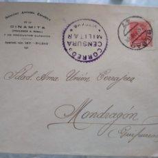 Sellos: SOBRE SOCIEDAD ANÓNIMA ESPAÑOLA DE LA DINAMITA. BILBAO. CENSURA MILITAR. VIZCAYA. VIÑETA. Lote 174078103
