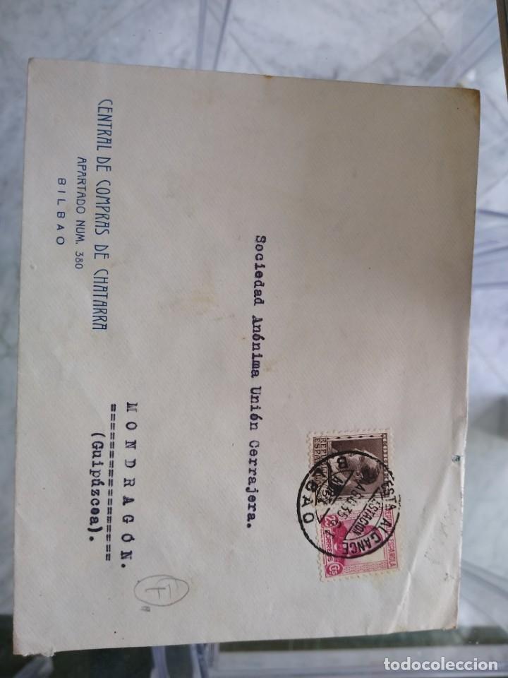 SOBRE CENTRAL DE COMPRAS DE CHATARRA. BILBAO. VIÑETA EXPOSCIÓN INDUSTRIA COMERCIO 1935 (Sellos - España - II República de 1.931 a 1.939 - Usados)