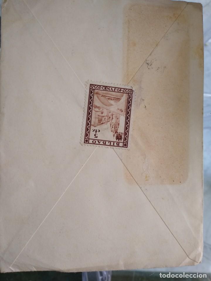 Sellos: Sobre Banco de Bilbao. Censura militar correos Vizcaya. Viñeta Bilbao 5 cts - Foto 2 - 174078424