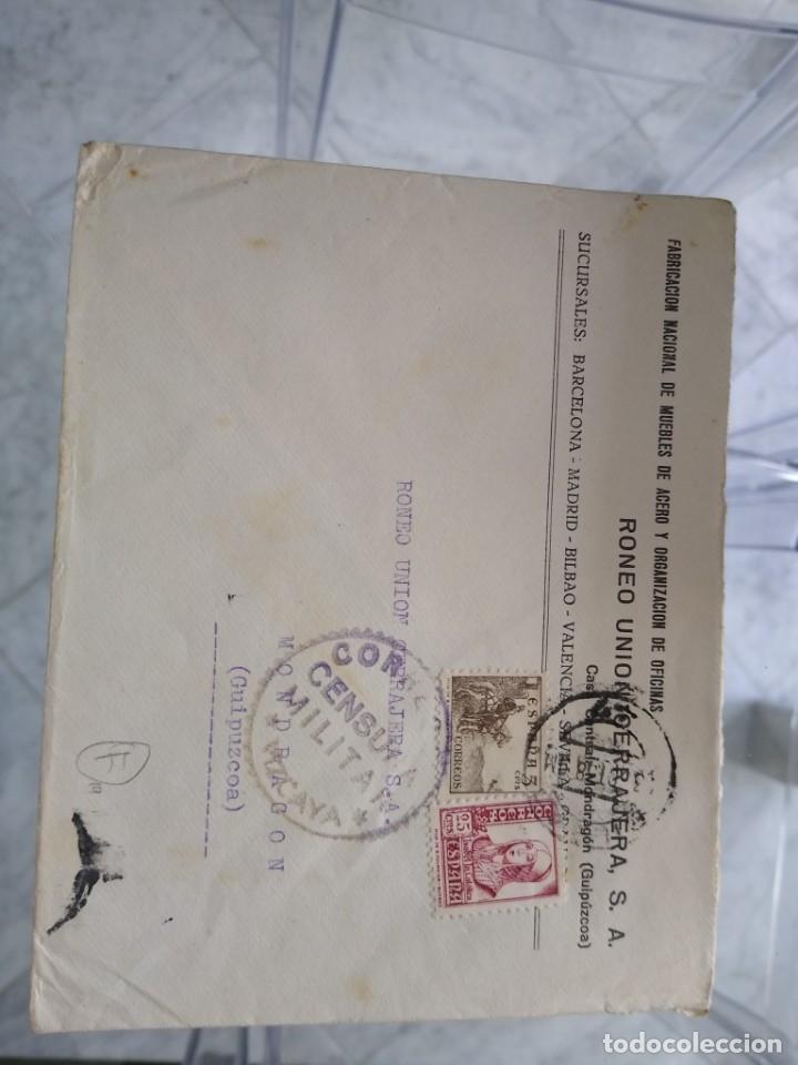 SOBRE FABRICACIÓN NACIONAL DE MUEBLES DE ACERO. CENSURA MILITAR CORREOS VIZCAYA. BILBAO. (Sellos - España - II República de 1.931 a 1.939 - Usados)
