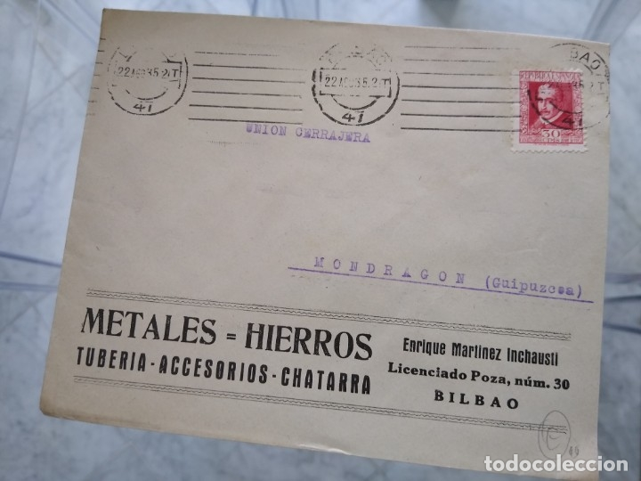 SOBRE METALES HIERROS. TUBERÍA ACCESORIOS CHATARRA. BILBAO. ENRIQUE MARTINEZ INCHAUSTI. VIÑETA (Sellos - España - II República de 1.931 a 1.939 - Usados)