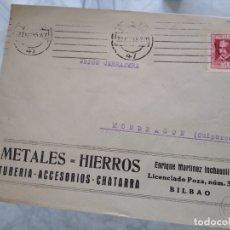Sellos: SOBRE METALES HIERROS. TUBERÍA ACCESORIOS CHATARRA. BILBAO. ENRIQUE MARTINEZ INCHAUSTI. VIÑETA. Lote 174078700