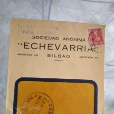 Sellos: SOBRE SOCIEDAD ANÓNIMA ECHEVARRIA BILBAO. CENSURA MILITAR CORREOS VIZCAYA. VIÑETA 5 CTS. Lote 174078867