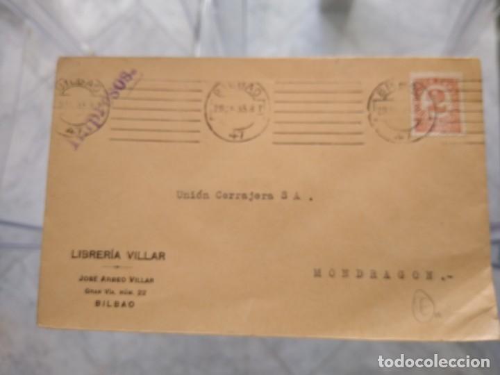SOBRE LIBRERÍA VILLAR. BILBAO. (Sellos - España - II República de 1.931 a 1.939 - Usados)