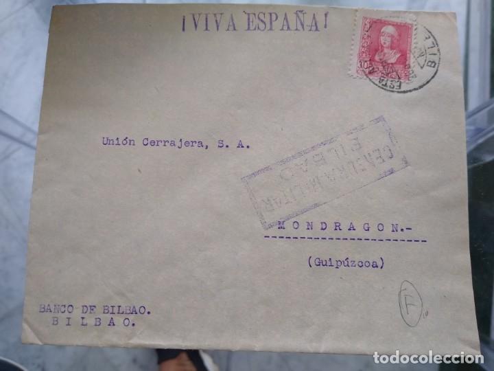 SOBRE CENSURA MILITAR BILBAO VIÑETA EN EL REVERSO. (Sellos - España - II República de 1.931 a 1.939 - Usados)