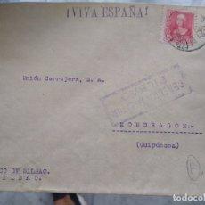 Sellos: SOBRE CENSURA MILITAR BILBAO VIÑETA EN EL REVERSO.. Lote 174080284