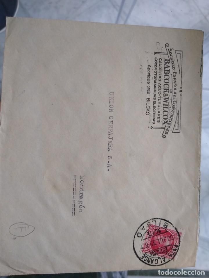 SOBRE SOCIEDAD ESPAÑOLA DE CONSTRUCCIONES BABCOCK & WILCOX. LOCOMOTORAS, GRUAS, BILBAO (Sellos - España - II República de 1.931 a 1.939 - Usados)