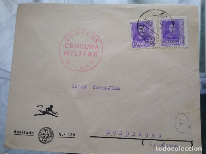 SOBRE CON CENSURA MILITAR CORREOS BILBAO. (Sellos - España - II República de 1.931 a 1.939 - Usados)