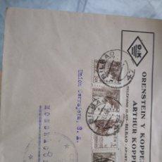 Sellos: SOBRE ORENSTEIN Y KOPPEL ARTHUR KOPPEL. FRANQUEO CURIOSO CENSURA MILITAR VIERNES. BIBAO. Lote 174081012