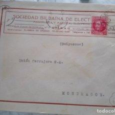 Sellos: SOBRE SOCIEDAD BILBAÍNA DE ELECTRICIDAD BILBAO.. Lote 174081152
