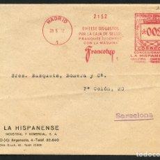 Selos: REPÚBLICA ESPAÑOLA, SOBRE, FRANQUEO MECÁNICO LA HISPANENSE, MADRID, 1932. Lote 174100222