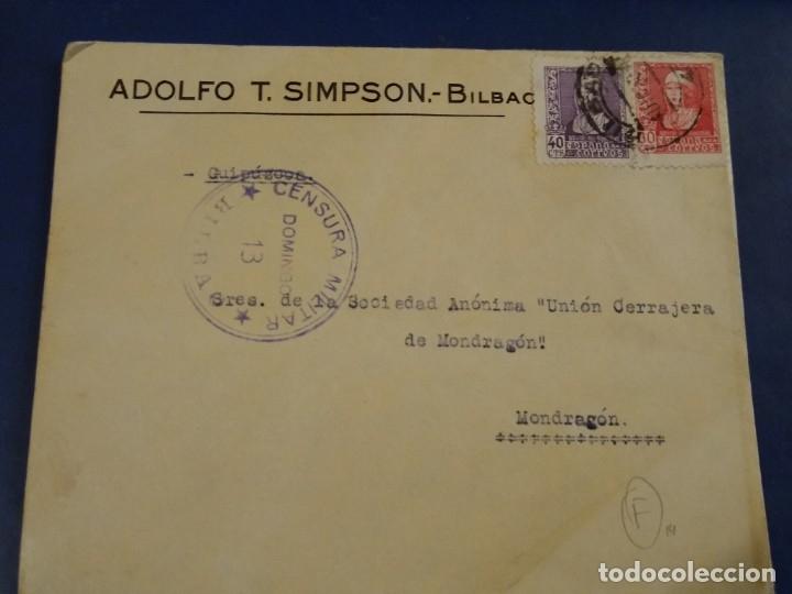SOBRE ADOLFO T. SIMPSON BILBAO. CENSURA MILITAR DOMINGO 13 BILBAO. (Sellos - España - II República de 1.931 a 1.939 - Usados)