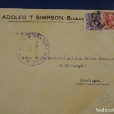 Sellos: SOBRE ADOLFO T. SIMPSON BILBAO. CENSURA MILITAR DOMINGO 13 BILBAO. . Lote 174977938