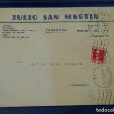 Sellos: SOBRE JULIO SAN MARTÍN ZARAGOZA. DROGAS, PINTURAS, ETC. MATASELLO MECÁNICO REPÚBLICA.. Lote 175014090