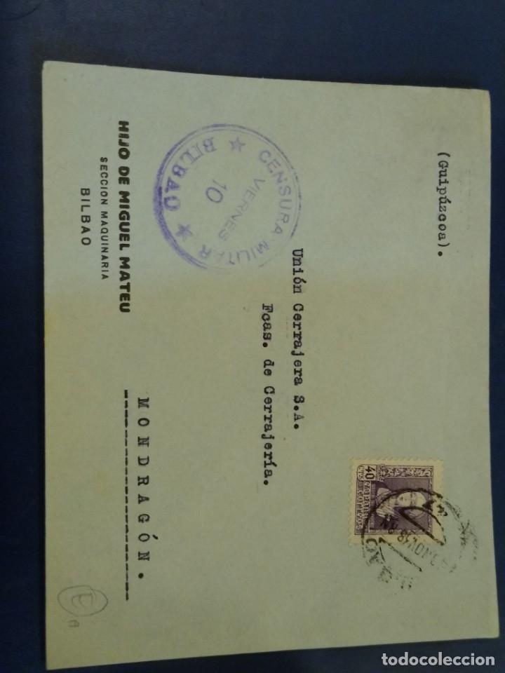 SOBRE HIJO DE MIGUEL MATEU CENSURA MILITAR BILBAO. VIERNES. (Sellos - España - II República de 1.931 a 1.939 - Usados)