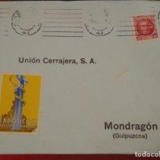 Sellos: SOBRE MONDRAGÓN GUIPUZCOA. REMITE EDUARDO K L. EARLE BILBAO. VIÑETA EXPOSICIÓN INDUSTRIA 1935. Lote 175015935