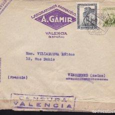 Sellos: F28-35- CARTA VALENCIA- FRANCIA 1938. CENSURA . Lote 175027684