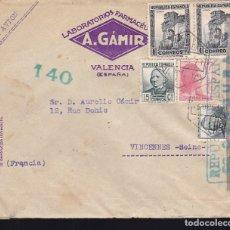 Sellos: F28-35- CARTA VALENCIA- FRANCIA 1938. CENSURA . Lote 175027788
