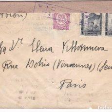 Sellos: F28-36- CARTA VALENCIA-PARIS 1938. CENSURA . Lote 175028463