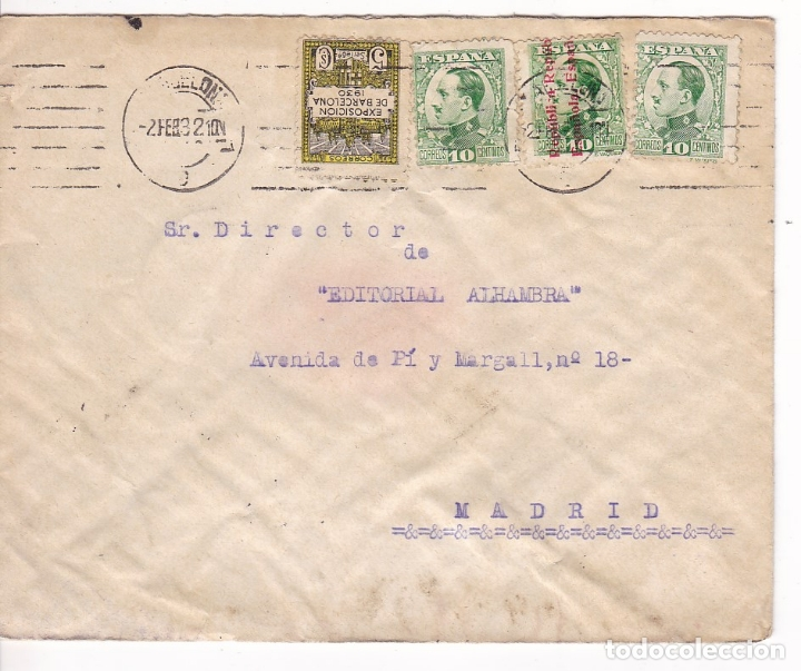 Sellos: F28-37- Carta Barcelona- Madrid 1932. FRANQUEO MIXTO - Foto 1 - 175029204