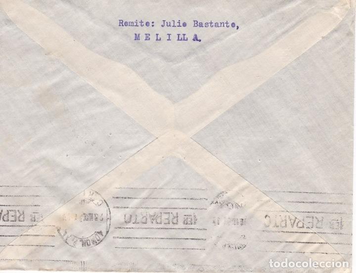 Sellos: F28-37- Carta MELILLA 1934. Bonito Franqueo con Tira 6 - Foto 2 - 175029357