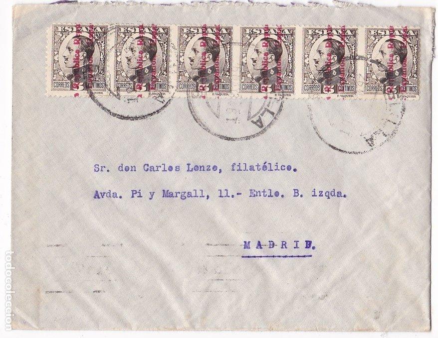 F28-37- CARTA MELILLA 1934. BONITO FRANQUEO CON TIRA 6 (Sellos - España - II República de 1.931 a 1.939 - Cartas)