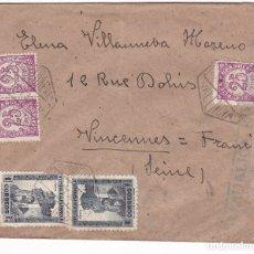 Sellos: F28-39-CARTA VALENCIA- FRANCIA 1938. CENSURA . Lote 175051320
