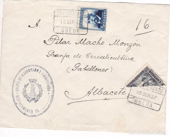 F28-2- GUERRA CIVIL . CERTIFICADO UBEDA 1937. MARCA GRUPO ALUMBRADO E ILUMINACIÓN. BISECTADO (Sellos - España - II República de 1.931 a 1.939 - Cartas)