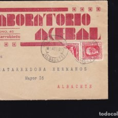 Sellos: F28-44- CARTA PUBLICITARIA LABORATORIO ACEBAL VILLARROBLEDO (ALBACETE) 1937 . BISECTADO. Lote 175060303