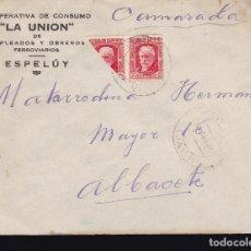 Sellos: F28-46- CARTA COOPERATIVA FERROVIARIOS LA UNIÓN ESPALUY (JAÉN) 1937. PABLO IGLESIAS BISECTADO. Lote 175062540