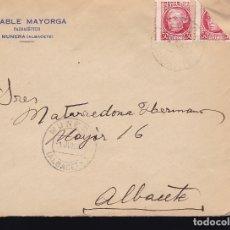 Sellos: F10-3- CARTA FARMACIA MUNERA (ALBACETE) 1937. JOVELLANOS BISECTADO. Lote 175063820