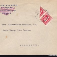 Sellos: F10-7- CARTA VILLARROBLEDO (ALBACETE) 1937. PABLO IGLESIAS BISECTADO. Lote 175064977
