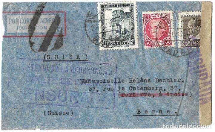 1937 -38 LOTE 4 SOBRES HISTORIA POSTAL GUERRA CIVIL REPUBLICA MADRID A SUIZA CORREO AÉREO CENSURAS (Sellos - España - II República de 1.931 a 1.939 - Cartas)
