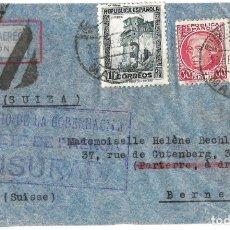 Sellos: 1937 -38 LOTE 4 SOBRES HISTORIA POSTAL GUERRA CIVIL REPUBLICA MADRID A SUIZA CORREO AÉREO CENSURAS . Lote 175353459