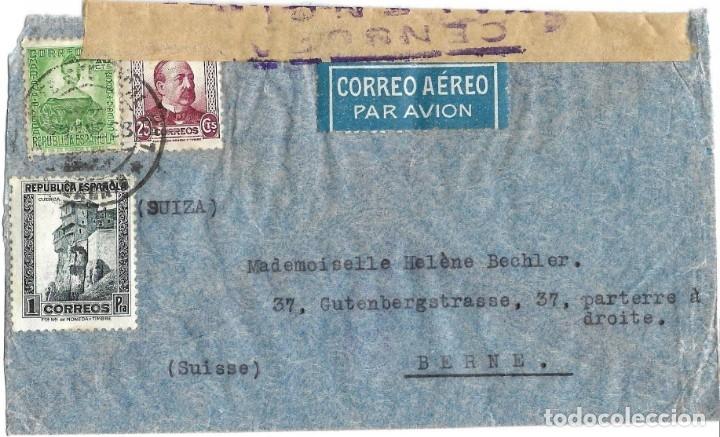 Sellos: 1937 -38 LOTE 4 SOBRES HISTORIA POSTAL GUERRA CIVIL REPUBLICA MADRID A SUIZA CORREO AÉREO CENSURAS - Foto 5 - 175353459
