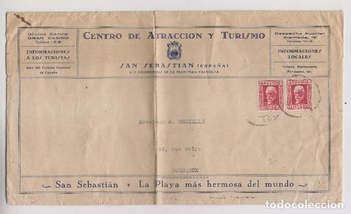 SOBRE. CENTRO TURISMO. SAN SEBASTIÁN A FRANCIA. PAÍS VASCO. (Sellos - España - II República de 1.931 a 1.939 - Cartas)