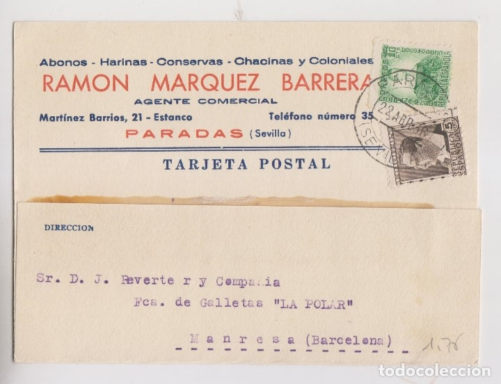 TARJETA. PARADAS, SEVILLA. 1936. MEMBRETE (Sellos - España - II República de 1.931 a 1.939 - Cartas)