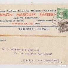 Sellos: TARJETA. PARADAS, SEVILLA. 1936. MEMBRETE. Lote 176018317