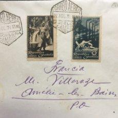 Sellos: REPÚBLICA ESPAÑOLA CARTA 1938. Lote 177129844