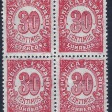 Sellos: EDIFIL 750 CIFRAS 1938 (BLOQUE DE 4). MNH **. Lote 178444753