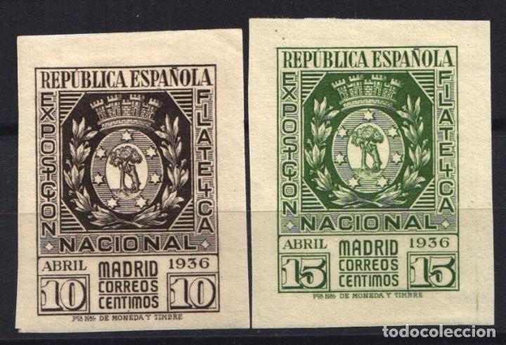 ESPAÑA, 1936 EDIFIL Nº 727 / 728 /**/, SIN FIJASELLOS, EXPOSICIÓN FILATÉLICA DE MADRID (Sellos - España - II República de 1.931 a 1.939 - Nuevos)