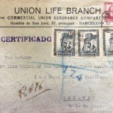 Sellos: REPÚBLICA ESPAÑOLA CARTA 1938. Lote 178850566