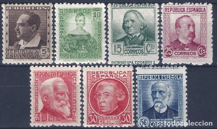 EDIFIL 681-688 PERSONAJES 1933-1935 (SERIE COMPLETA) (VARIEDAD..686 SIN PIE DE IMPRENTA). MNH ** (Sellos - España - II República de 1.931 a 1.939 - Nuevos)