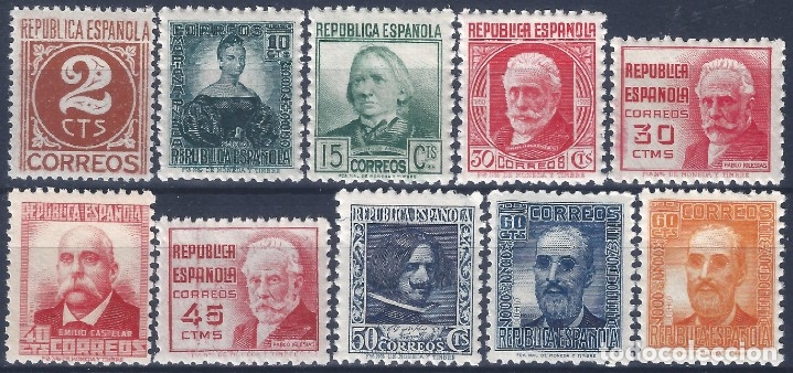 EDIFIL 731-740 CIFRA Y PERSONAJES 1936-1938 (SERIE COMPLETA). CENTRADO DE LUJO. MNH ** (Sellos - España - II República de 1.931 a 1.939 - Nuevos)