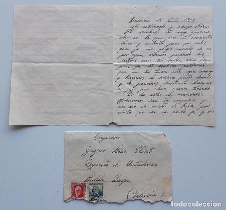 1937 CARTA VALENCIA ZARAGOZA (Sellos - España - II República de 1.931 a 1.939 - Cartas)